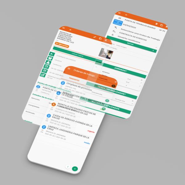 App parte de trabajo tres capturas de android